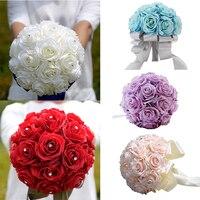 1 adet Düğün Gelin Buketi Gül Kristal Diamante Düğün El Yapımı Yapay Mavi/Pembe/Mor/Kırmızı/Beyaz gül Nedime Çiçek