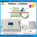 Mais novo LCD 65dBi GSM 3G 900 2100 MHz de Banda Dupla celular Mobile Phone Signal Booster, Amplificador de Sinal De Celular GSM 3g UMTS repetidor