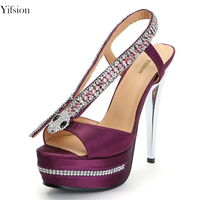 Yifsion Women Platform Sandals Sexy Crystal Thin High Heels Ladies Sandals Open Toe Purple Party Shoes Women US Plus Size 4 9.5