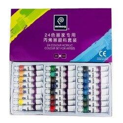 24 cores 12 ml tubo de pintura acrílica conjunto de pintura de vidro de cor do prego arte pintura para ferramentas de desenho de tecido para crianças diy resistente à água