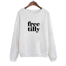 Free Tilly Dear Seaworld Sweatshirt Please Free The Orcas Public slogan Pullover Women Crewneck Hoodies Black White slogan print back pullover
