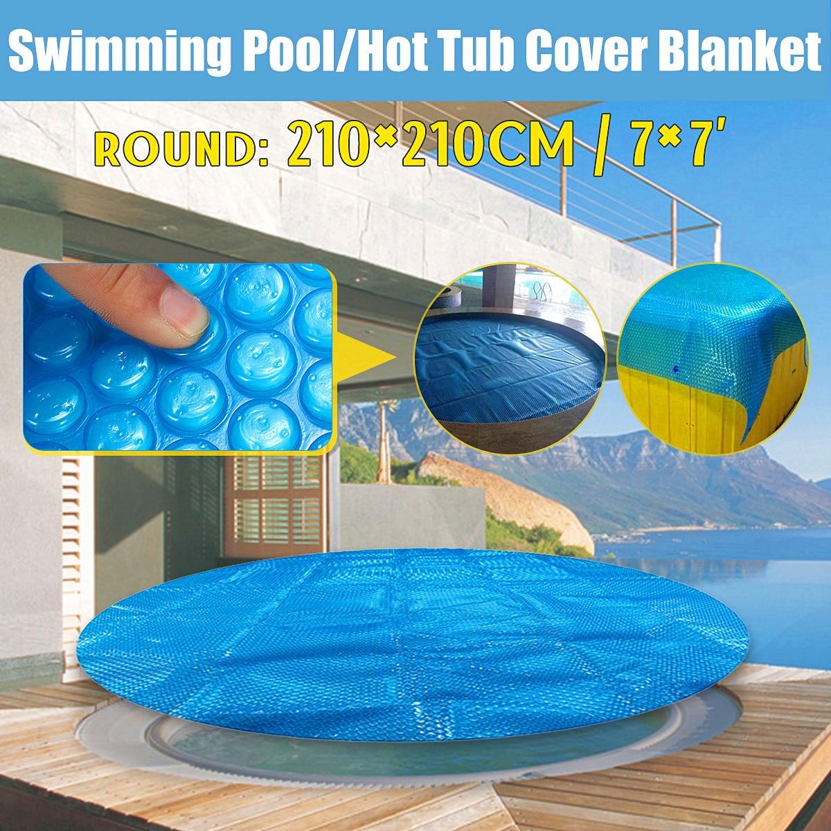 7' Round Family Pool Swimming Pool Hot Tub Cover Blanket Kid Adult Children Blue Garden Balcony Outdoor Play Pool Cover чехол pool cover на каркасные бассейны 258х179см jilong