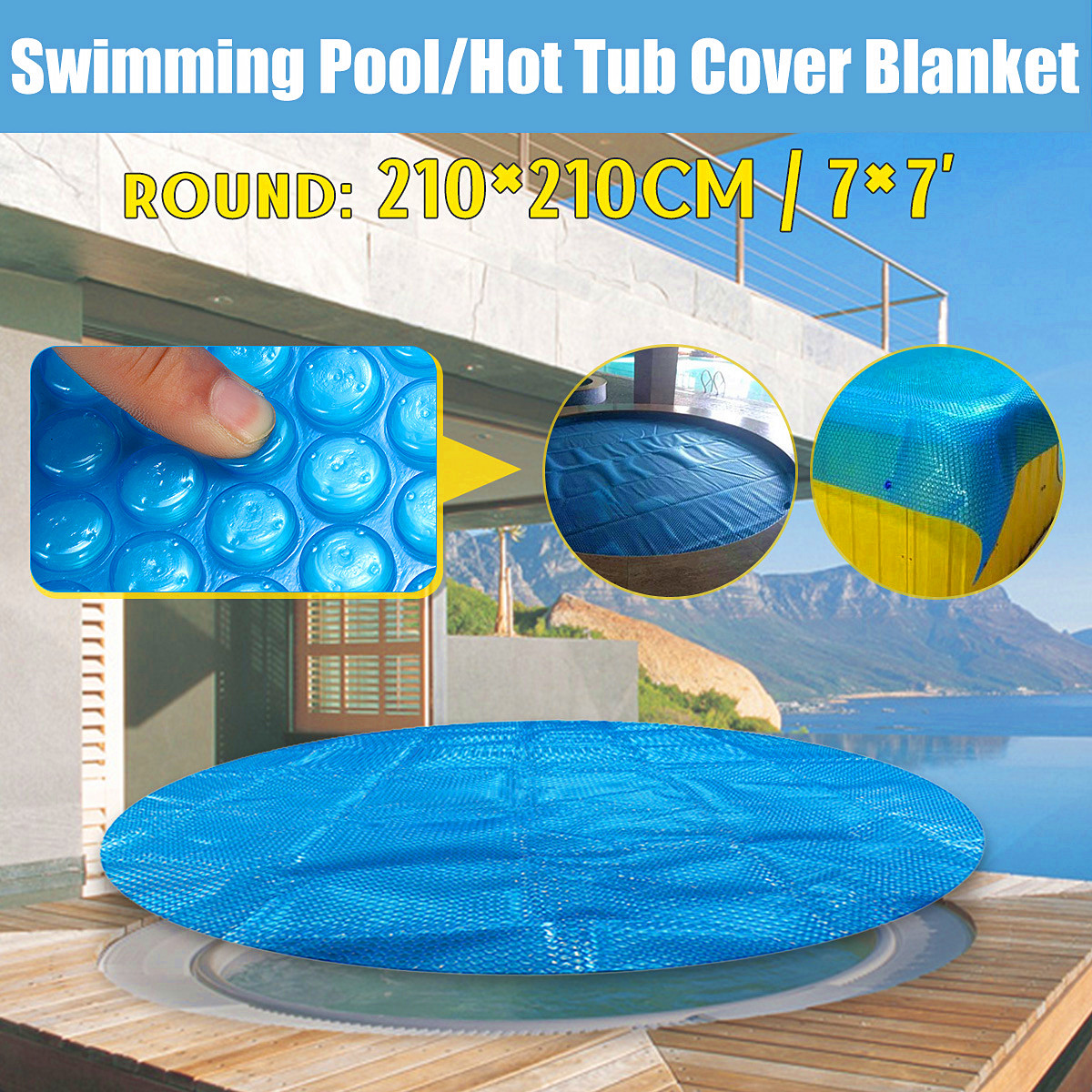 7' Round Family Pool Swimming Pool Hot Tub Cover Blanket Kid Adult Children Blue Garden Balcony Outdoor Play Pool Cover