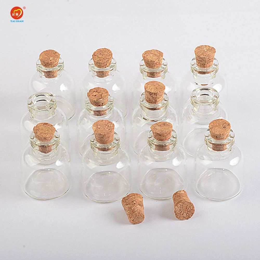 100 units 4ml mini transparent glass cork bottles glass for Decorative vials