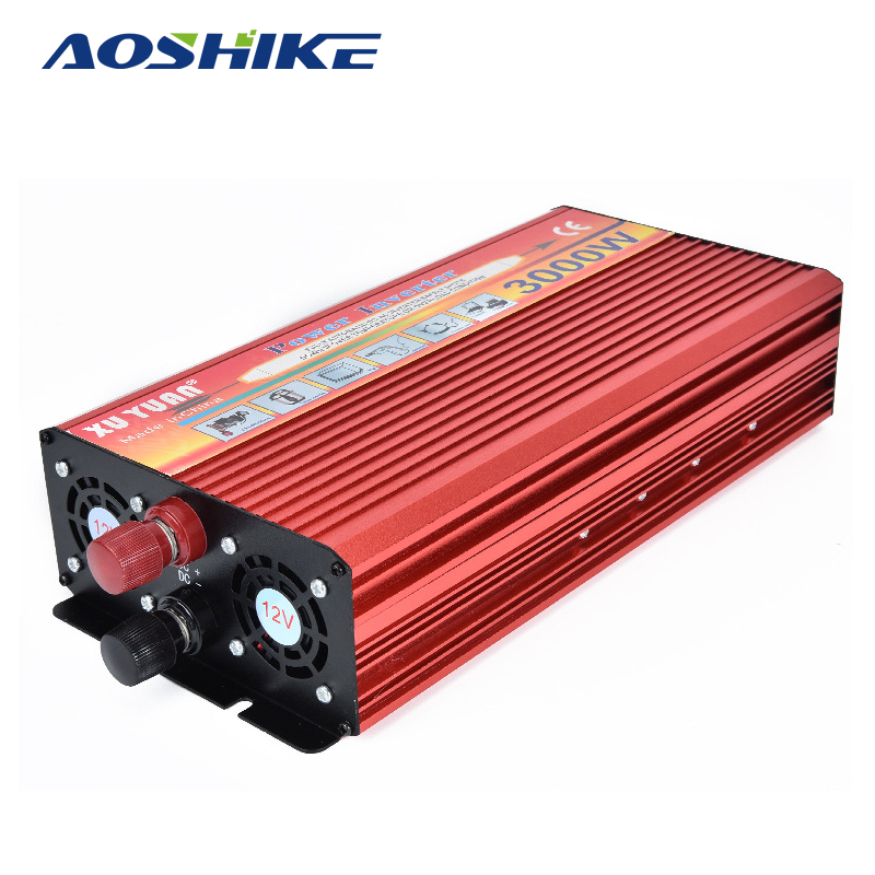 Aoshike 3000W Car Inverter DC12V to AC 220V Universal Socket Charger Converter Transformer Auto Power Vehicle Power Supply digital display vehicle 2000w usb car power solar inverter converter 12v dc to ac 220v usb charger adapter portable voltage