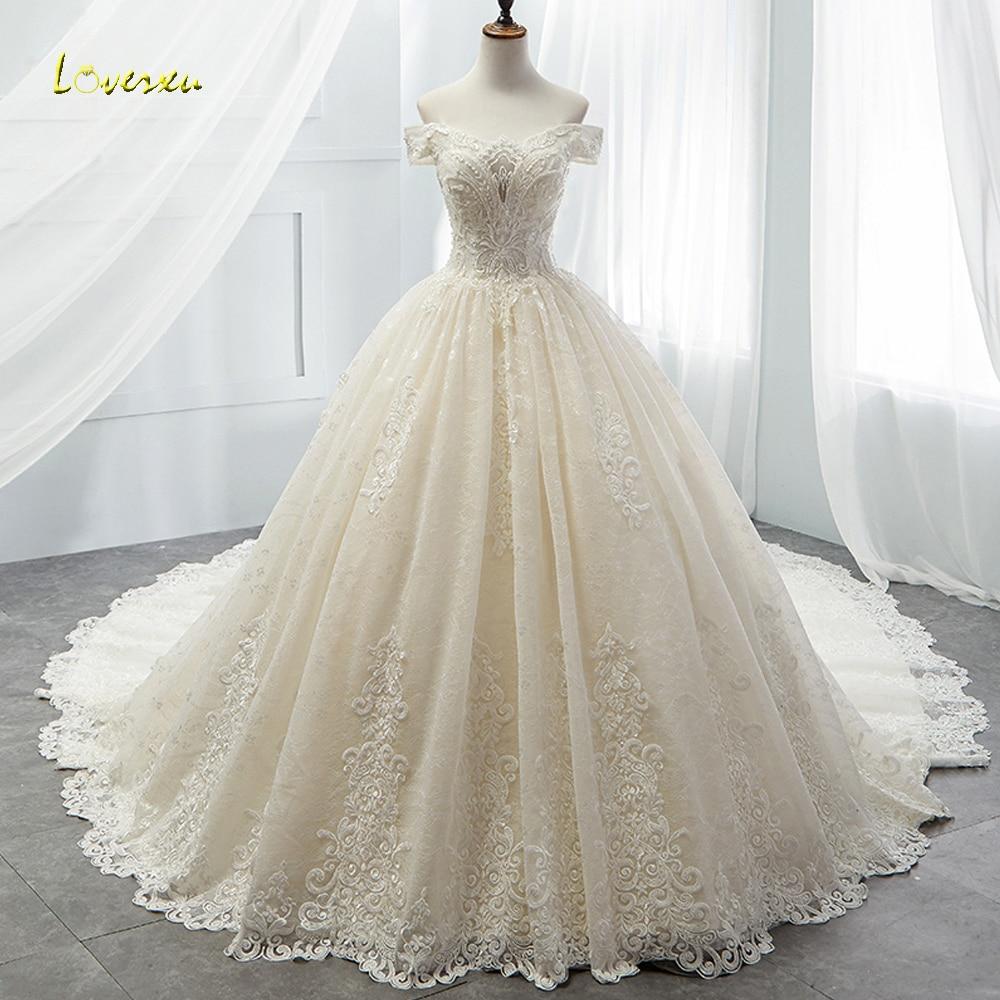 Loverxu Boat Neck Lace Vintage Ball Gown Wedding Dress 2019 Royal Train Appliques Beaded Princess Bridal