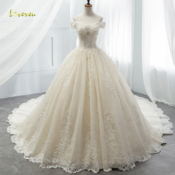Loverxu Boat Neck Lace Vintage Ball Gown Wedding Dress 2021 Royal Train Appliques Beaded Princess Bridal Vestido De Noiva - discount item  19% OFF Wedding Dresses