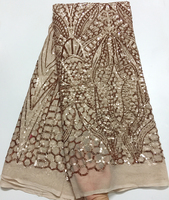 Bridal Lace Trim Rose gold Sequins Fabric Embroidered African Lace Fabric 2018 High Quality Lace Fashion French Lace Fabric