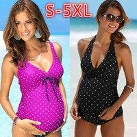 2018 New Hot Wave Printing Pregnant Women Split Swimwear Swimsuit Black Spots Pregnant Women S 5XL