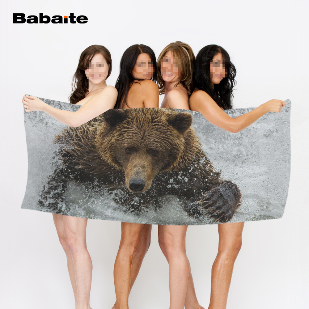 Babaite Bear Having Fun in the River Bath Towel 50*100cm,70*140cm,70*150cm,80*160cm Beach Towel Drying Washcloth Swimwear Towels