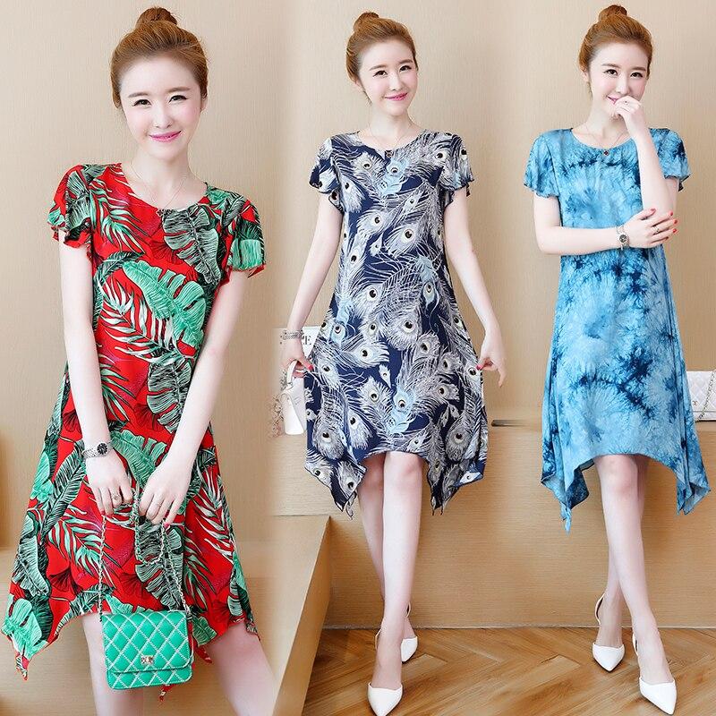 5XL imprimer robe en mousseline de soie femmes 2019 nouvelles robes d'été à manches courtes o-cou moulante femmes robe grande taille tenue décontractée adolescente