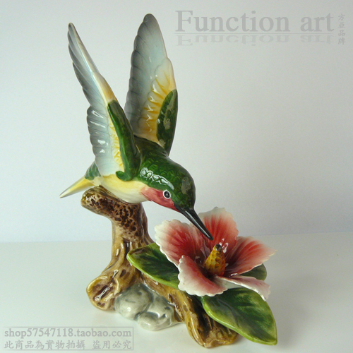 Ceramic Flower Bird Figurines Home Decor Ceramic Hummingbird Ornament  Crafts Room Decoration Porcelain Animal Figurine