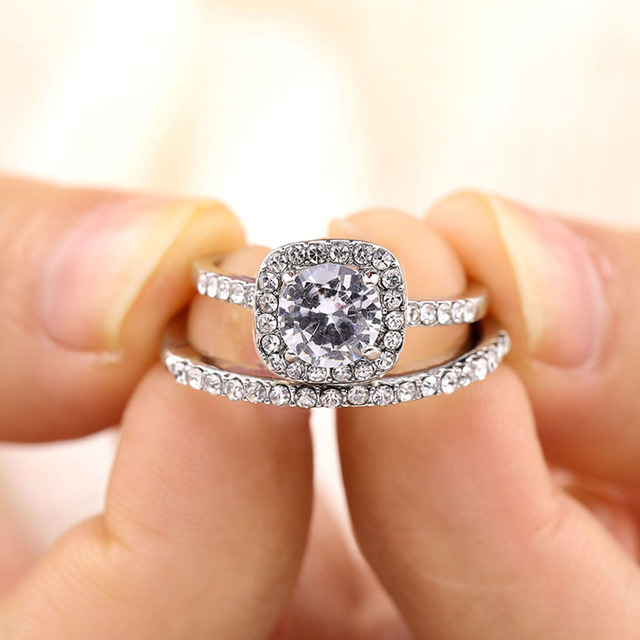 Fashion Engagement CZ AAA Zircon Crystal Rings For Women Girls Silver Filled Wedding Ring Set Lover Wedding Jewelry Party Gift 2