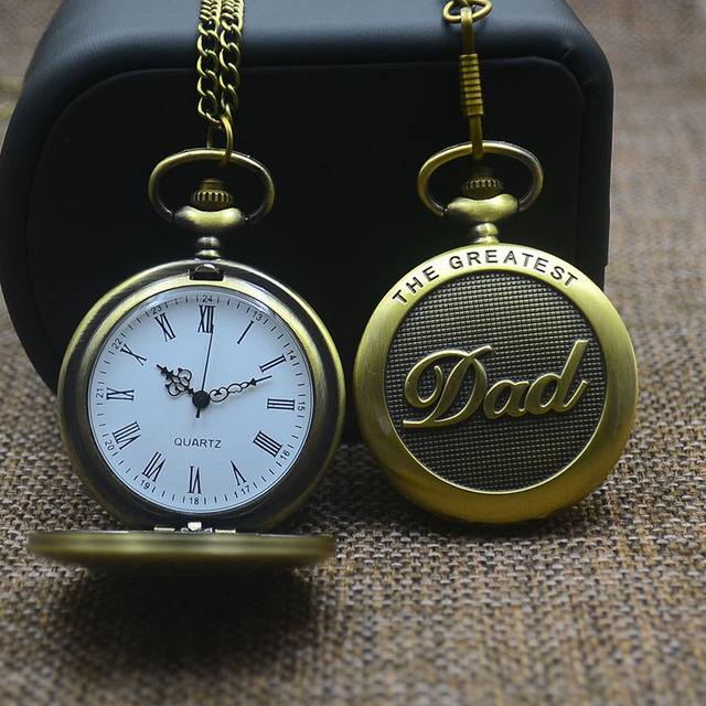 The Greatest Dad Fob Watches Men Round Dial Fashion Quartz Pocket Watch Necklace Women High Quality Best Gift 2017 New Bronze