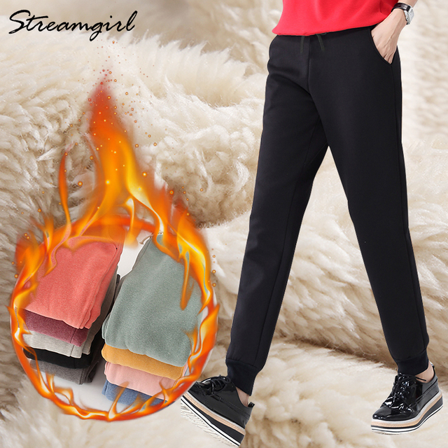 Warm Pants For Women High Waist Sweatpants Casual Thick Velvet Pink Pants Winter Women's Warm Winter Clothing For Women Big Size
