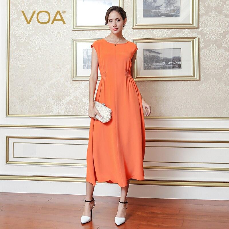 VOA 2018 Spring Summer Plus Size Orange Women Maxi Long Dress High Quality Heavy Silk High Waist Brief Solid Slim Dress A6568