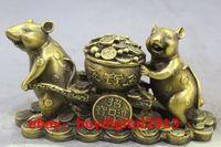 Китайский Фэншуй старые антикварные Медь Латунь Статуя Лаки Деньги Мышь Скульптура