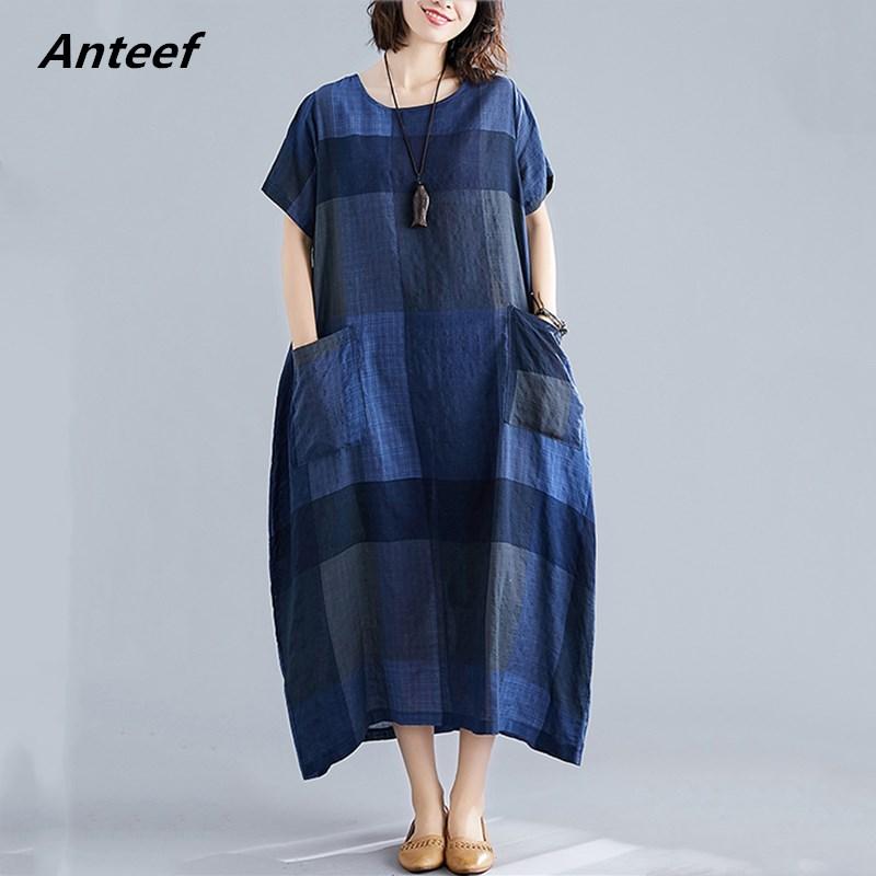Algodão linho plus size vintage xadrez feminino casual solto longo verão vestido elegante roupas 2021 senhoras vestidos de verão