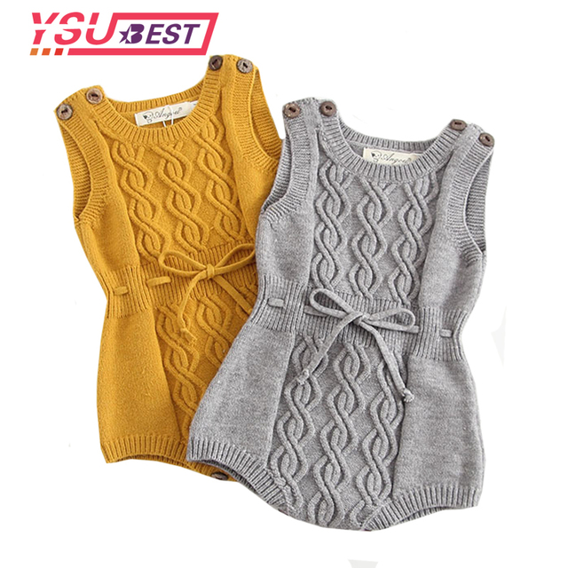 cc4e26287a90 Baby Girls Knitting Romper Newborn Baby Girl Clothes Fashion Knitted Baby  Romper Overalls Autumn Bubble Sweater