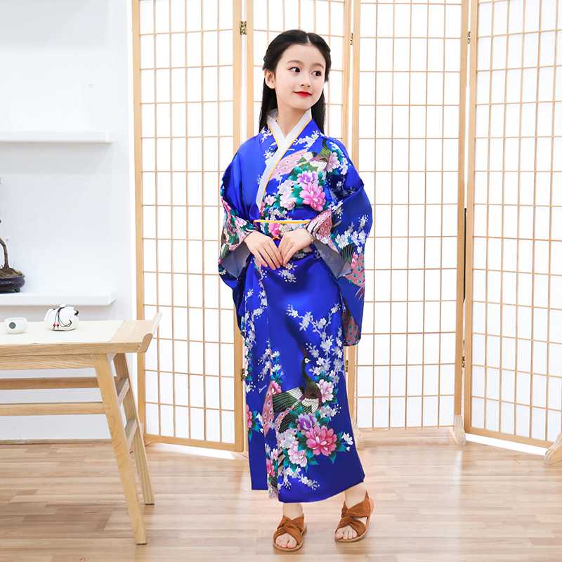 Blue Child Novelty Cosplay Floaral Dress Japanese Baby Girl Kimono Dress Children Vintage Yukata Kid Girl Dance Costumes