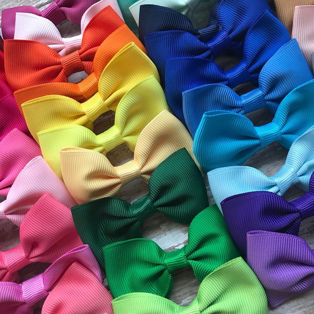 40pcs/lot 2Inch Solid Hair Bows For Girls Hairpins Boutique Ribbon Bows Hair Clips Headwear Kids Handmade Hair Accessories