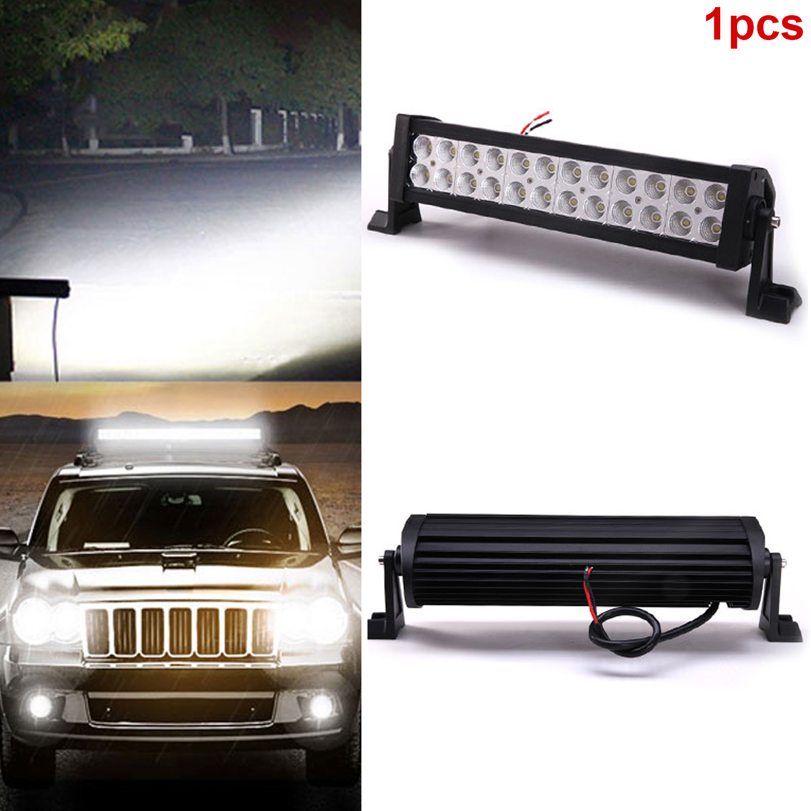 1PC Car 72W Led Work Light Offroad Light Bar for ATV SUV Truck Boat Spot Beam IP65 CSL2017 new light sourcing 17 inch 72w light bar with screws for wrangler offroad suv atv boat truck
