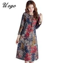 Uego Three Quarter Sleeve Cotton Linen Floral Women's Dress