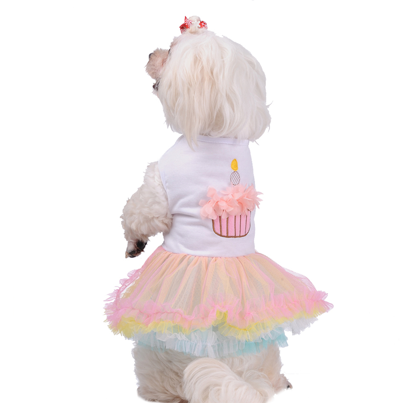 Colorful Sweet Puppy <font><b>Dog</b></font> Princess Skirt Pet <font><b>Dog</b></font> Lace Cake Flowers Print Tutu <font><b>Dress</b></font> Puppy <font><b>Wedding</b></font> <font><b>Dresses</b></font> For <font><b>Dog</b></font> 4 Size 1pcs image