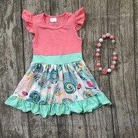 New Summer Cotton Baby Girls Kids Boutique Clothes Dress Sets Coral Mint Floral Short Print Ruffles