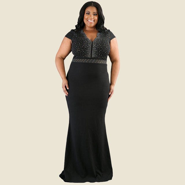 Plus Size Women Long Party Dresses V Neck Short Sleeve Bodycon Summer Maxi  Dress Solid Causal 9fe7127f079f