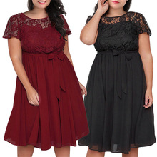 Women Summer Dress Ukraine Plus Size Clothing Lace Mesh Elegant Office 5XL Big Vintage Female Robe Femme