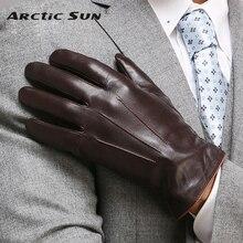 Qualidade superior luvas de couro genuíno para homens inverno térmico tela toque luva pele carneiro moda magro pulso condução em011nc3