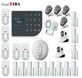 SmartYIBA Proteção GPRS Wi-fi GSM Casa de Alarme de Segurança Em Casa Sistema de Alarme APP Controle Remoto Câmera de Vídeo IP Sensor de Fumaça de Incêndio