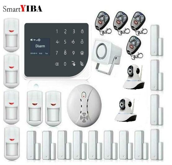 SmartYIBA Proteção GPRS Wi fi GSM Casa de Alarme de Segurança Em Casa Sistema de Alarme APP Controle Remoto Câmera de Vídeo IP Sensor de Fumaça de Incêndio-in Kits de sistema de alarme from Segurança e Proteção on SmartYIBA Security (SZ) Store