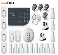 SmartYIBA Wi Fi GSM дома охранной сигнализации дома защиты GPRS сигнализация Системы APP дистанционного Управление видео IP Камера Дым пожарный Сенсор