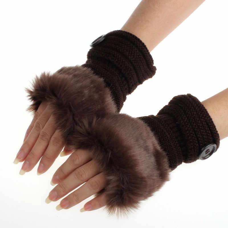Женская перчатка Повседневное искусственного меха кролика трикотажные перчатки Мягкий Хлопок Зима пальцев Вязание теплые короткие руки перчатки варежки # YL