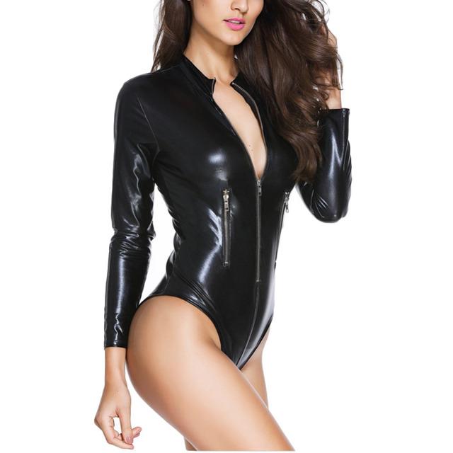 2016 mulheres sexy bodysuit de couro preto com zíper decoração PU manga comprida bodycon magro O-pescoço romper uma peça macacão de femme