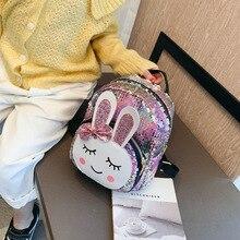 Girl Backpack Little-Rabbit-Bag Sparkle School-Bags Sequins Shoulder Small Female Laser