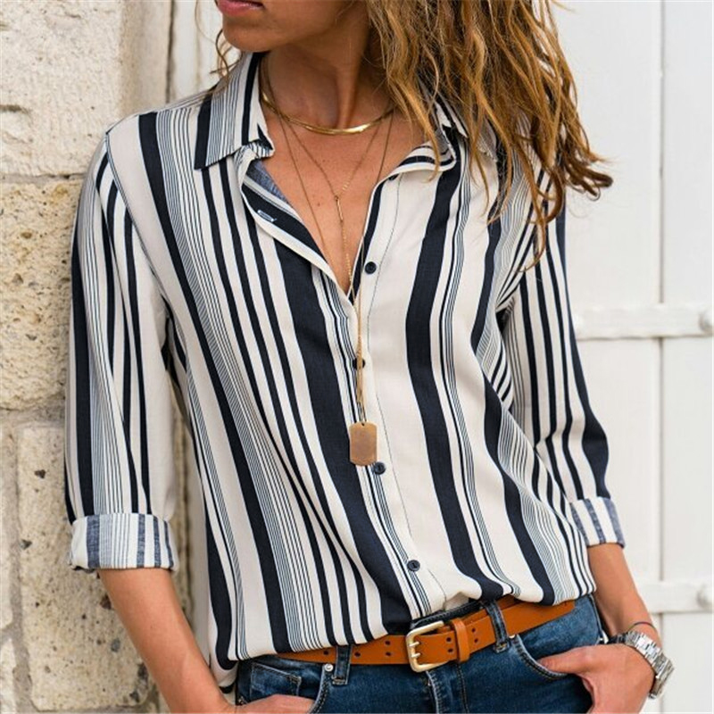 Women Blouses Fashion Long Sleeve Turn Down Collar Office Shirt Leisure Blouse Shirt Casual Tops 77