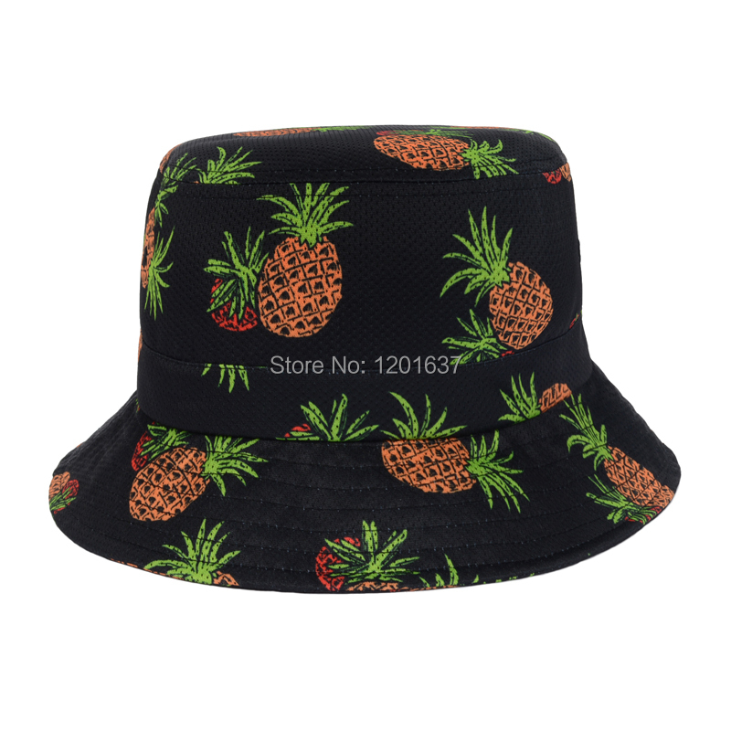 89b15f7471c Fashion Black White Pineapple Printed Bucket Hats Women Sunbonnet Chapeau  Touca Casual Fisherman Cap Casquette Goldtop-in Bucket Hats from Apparel ...