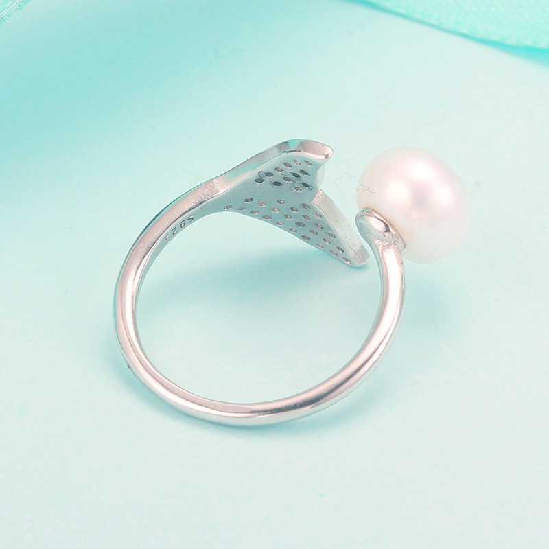 Cauuev Bất Tự Nhiên Ngọc Trai Nước Ngọt Wedding Nhẫn Thời Trang 925 Sterling Silver Bạc Phụ Nữ Engagement Zircon Nhẫn Trang Sức Thanh Lịch Quà Tặng