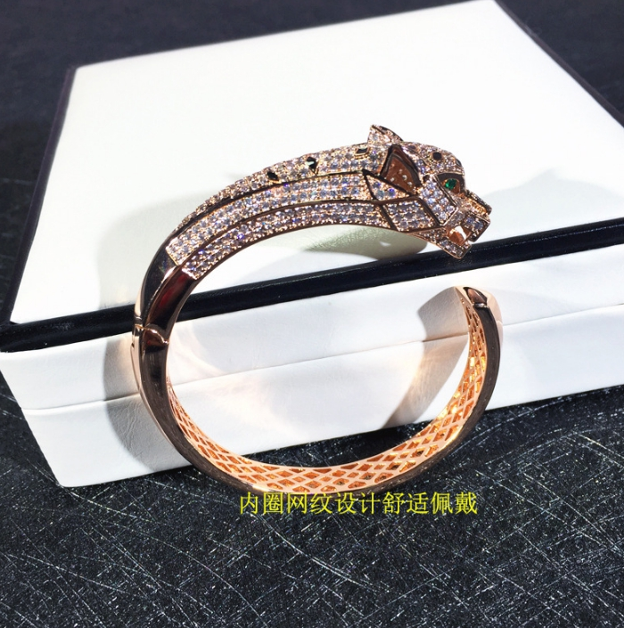 Bijoux de fête de mode chaude pour les femmes Rose or noir motif panthère bijoux de mariage bracelet léopard bijoux réglables - 5