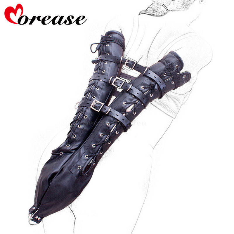 Morease Sexy Leather Over Shoulder Arm Binder Slave Fetish erotic One Glove Bondage Restraint Sex Toy Women BDSM Adult Game Kit game over