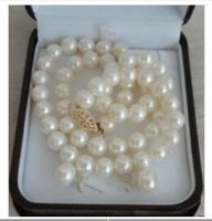 Beautiful 7-8mm white pearl necklace earrings set