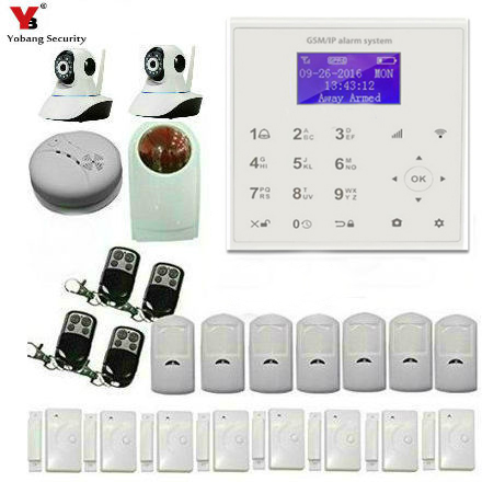 Yobang Security APP Control GSM WIFI Alarm Touch Panel PIR Motion Sensor Magnet Switch Door Open Alarm Kits With 2 IP Cameras yobang security wireless wifi gsm alarm system with pir motion sensor ip camera app control sensor alarm fire smoke detector