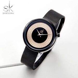 Image 4 - Женские наручные часы Shengke, женские модные часы с металлической сеткой, Винтажный дизайн, женские часы, роскошный бренд, Классические наручные часы