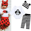 2016 New Cotton Children Casual Cartoon Baby Boys Girls Sets Clothes 3pcs(Long-Sleeved Romper+Hat+Pants)Children Clothing DS26