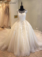 Luxury Wedding Dresses 2018 New Arrival Vintage Lace Bridal Gown Royal Train Sleeveless A line Bride Dress