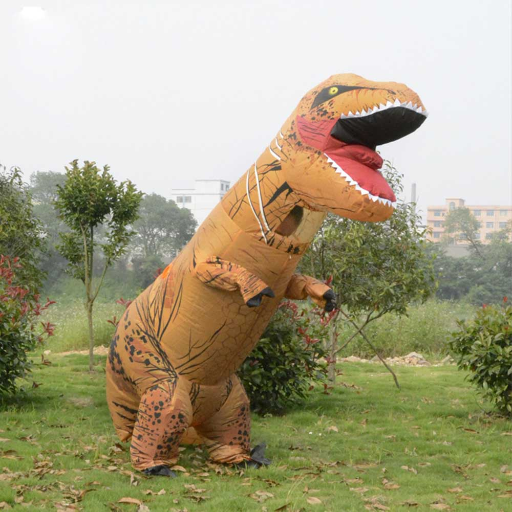 Adult T-Rex Inflatable Costume Jurassic World Park Dinosaur Costume Amazing Dragon Blowup Outfit Halloween Fancy Dress Suit