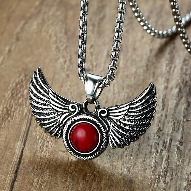 Gothic angel wings pendant necklace with red stone goth male jewelry gothic angel wings pendant necklace with red stone goth male jewelry for men women stainless steel aloadofball Choice Image